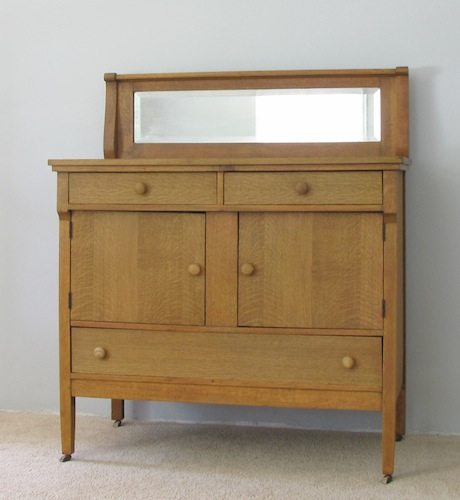 Antique White Oak Sideboard or Buffet with Beveled Mirror