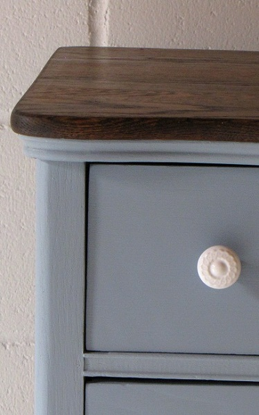 My Description Being An Antique Blue Dresser With Dark Jacobean Stained
