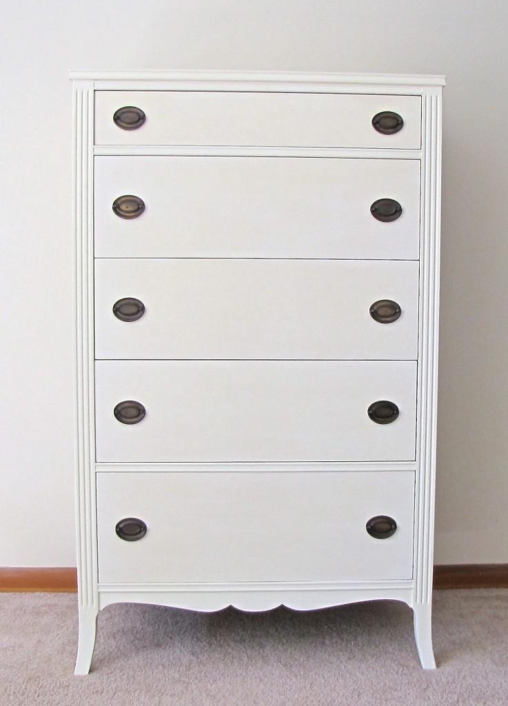 Old White Antique Tallboy Dresser With Original