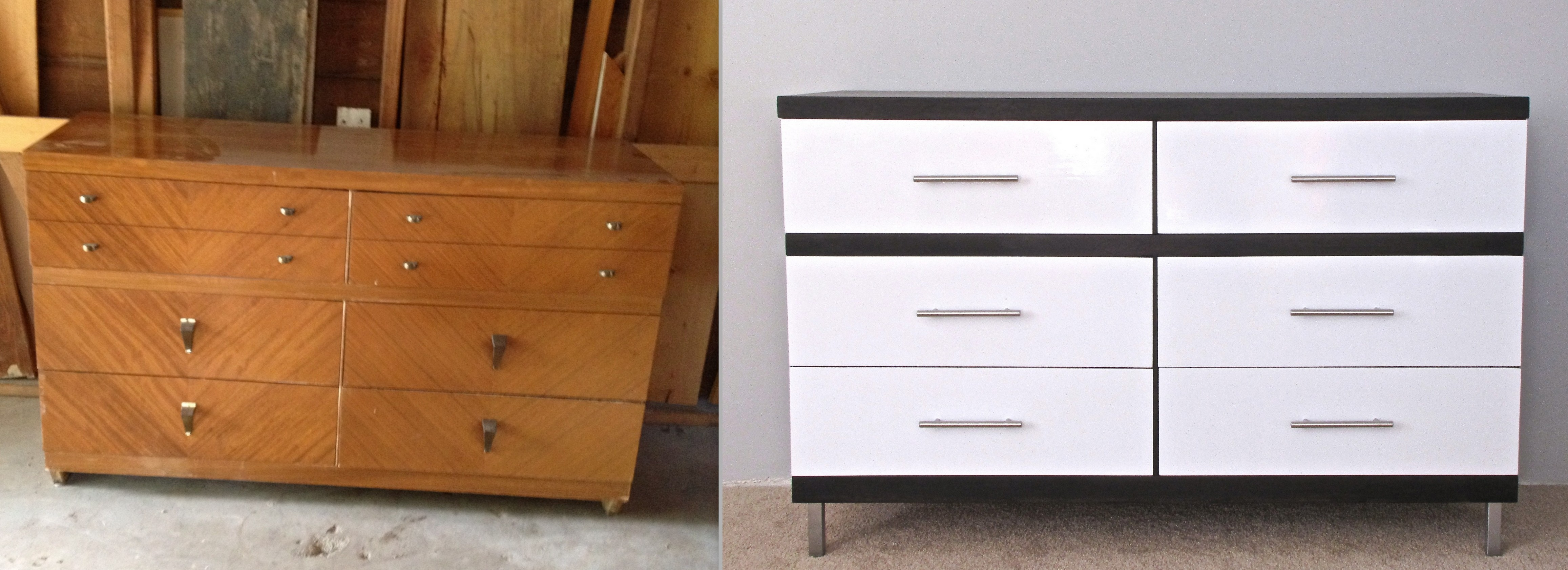 Top Before and After: Modern White Lacquer and Dark Walnut Dresser TV44